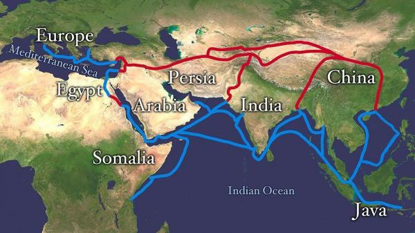 The Silk Road stretched from Eastern China to Europe and was the primary route for merchants in the ancient Chinese silk trade.