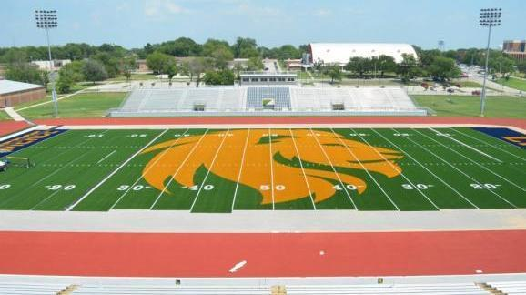 At 50 yards wide, a new lion dominates the new field at Texas A&M University-Commerce's Memorial Stadium.