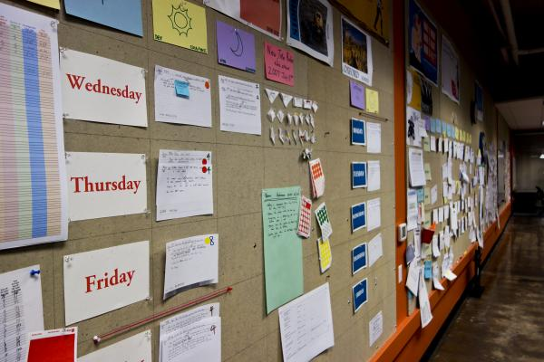Menlo employees favor open communication that's conducted face-to-face or on paper, which they post on walls.