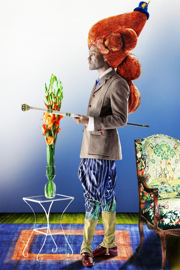 <em>Sartorial Anarchy #5</em>, 2012. Ike Ude, photographer. In his Sartorial Anarchy self-portraits, New York-based Nigerian-born artist Ike Ude creates composite images of the dandy across geography and chronology. Ude photographs himself in disparate ensembles, pairing, for example, a copy of an 18th-century Macaroni wig with other carefully selected vintage garments and reproductions.