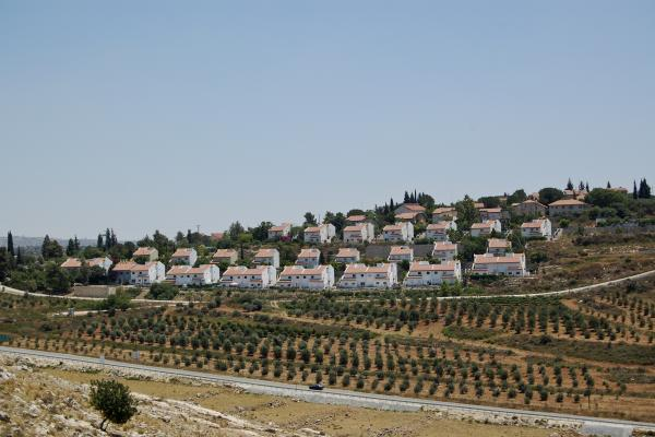 The Israeli settlement of Halamish, also known as Neveh Tzuf, as seen from Nabi Saleh, the Palestinian village across the valley. Every Friday Palestinian villagers march across the valley and try to get to the spring, which is near Halamish.