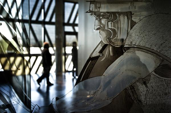 People visit the Alesia MuseoParc dedicated to the Battle of Alesia, on March 14, 2012, in Alise-Sainte-Reine, France.