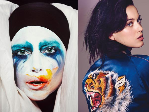 """This week, Lady Gaga (left) released the song """"Applause,"""" from her forthcoming album <em>ARTPOP</em>, and Katy Perry released """"Roar,"""" from <em>Prism.</em>"""