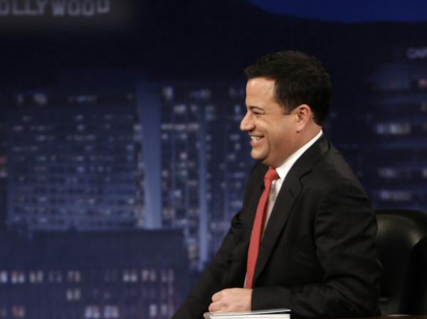 Comedian Jimmy Kimmel interviews Mel Brooks on <em>Jimmy Kimmel Live.</em>