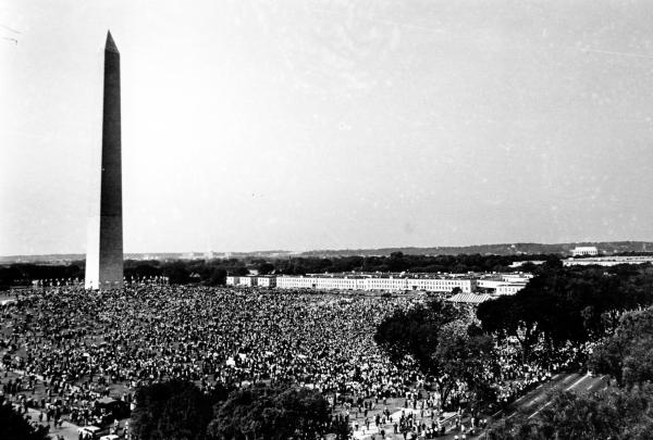 More than 200,000 gather on the Washington Monument grounds before marching to the Lincoln Memorial on Aug. 28, 1963.