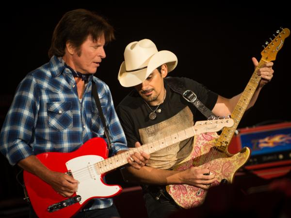 "John Fogerty teams up with Brad Paisley, whom he calls one of the greatest guitarists alive, in ""Hot Rod Heart"" on his new album, <em>Wrote a Song for Everyone.</em>"