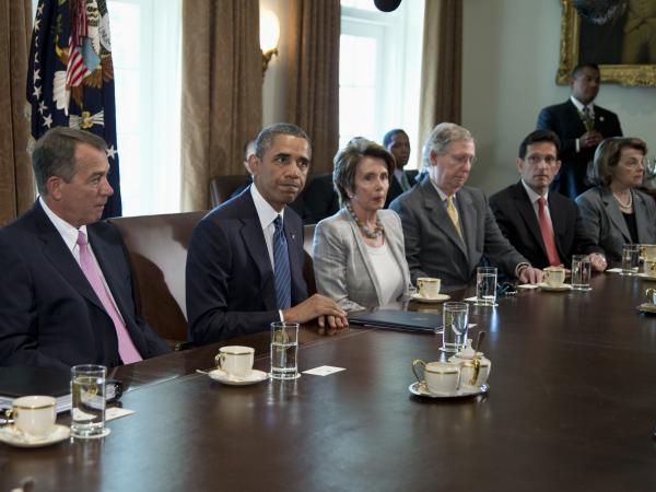 President Obama pauses after speaking to media in the White House on Tuesday before a meeting with congressional leaders to discuss the situation in Syria. With the president: House Speaker John Boehner (from left), House Minority Leader Nancy Pelosi, Senate Minority Leader Mitch McConnell, House Majority Leader Eric Cantor and Sen. Dianne Feinstein.