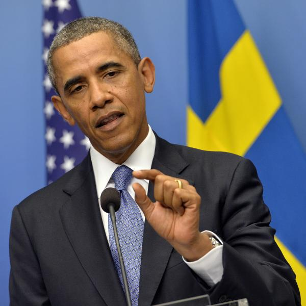 President Obama during his news conference Wednesday in Stockholm.