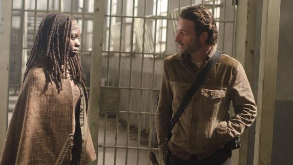 Michonne (Danai Gurira) and Rick (Andrew Lincoln), in between curses on AMC's <em>The Walking Dead.</em>