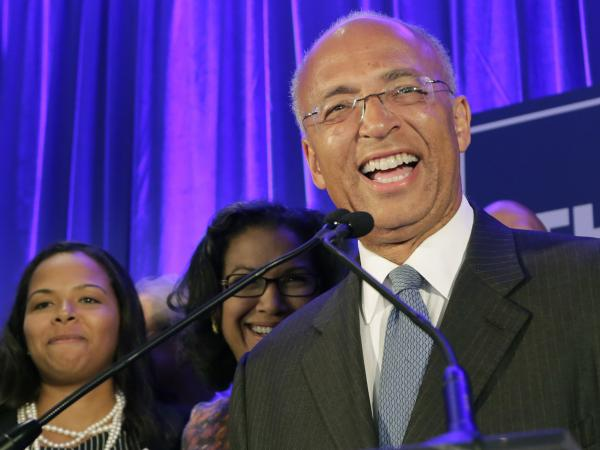 New York mayoral candidate Bill Thompson speaks to his supporters after the polls closed Sept. 10.