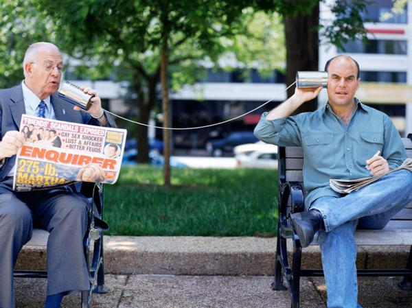 Sorry Brad and Ryan, but the <em>Wait Wait</em> hosting gigs are already taken by Carl Kasell and Peter Sagal (l-r).