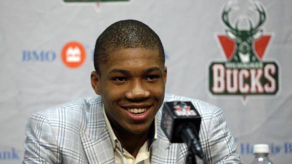 Milwaukee Bucks first-round draft pick Giannis Antetokounmpo speaks at a news conference in Milwaukee on June 28.