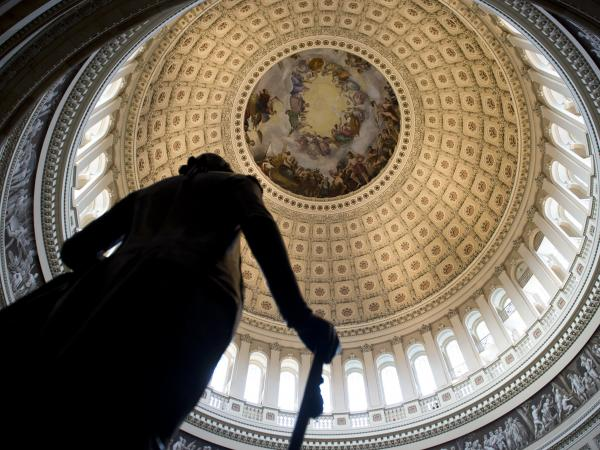 A statue of George Washington, in the U.S. Capitol's Rotunda.