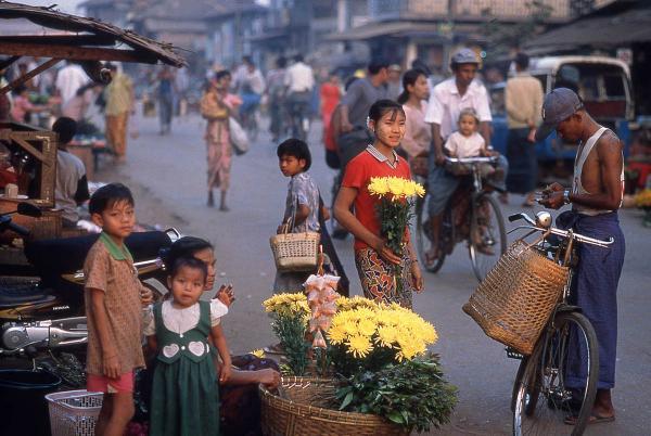 Flower seller, Bago, 2000