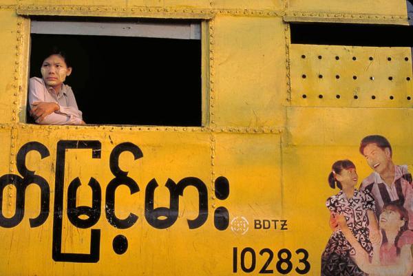 Train travel, Yangon, 2000