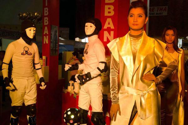 Hip-hop music performance at new auto show, Yangon, 2012