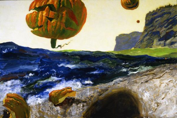 Jamie Wyeth, The Headlands of Monhegan Island, Maine, 2007, Oil on canvas, 40 x 60 inches. Wyeth Collection, ©Jamie Wyeth