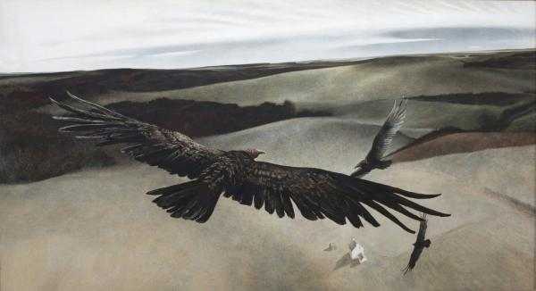 Andrew Wyeth,  Soaring, 1942-1950, Tempera on Masonite, 48 x 87 inches. Shelburne Museum  © Andrew Wyeth. Photograph by J. David Bohl