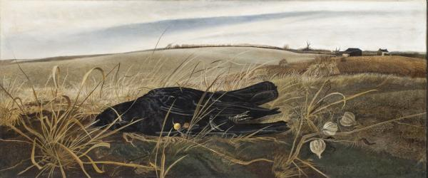 Andrew  Wyeth, Winter Fields, 1942, Tempera on panel, 17 ¼ x 41 inches. Whitney Museum of American Art, New York. Gift of Mr. and Mrs. Benno C. Schmidt, in memory of Mr. Josiah Marvel, first owner of this picture 77.91 ©Andrew Wyeth