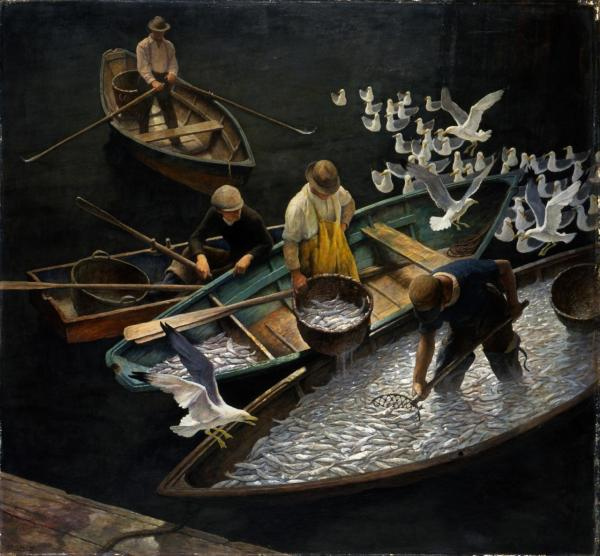 N.C. Wyeth, Dark Harbor Fishermen, 1943, Egg tempera on Renaissance panel, 35 x 38 inches. Portland Museum of Art, Maine. Bequest of Elizabeth B. Noyce, 1996.38.63