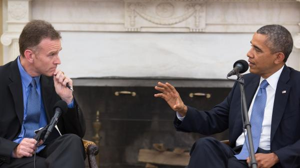 Steve Inskeep interviews President Obama in the Oval Office on Monday for NPR's <em>Morning Edition</em>.