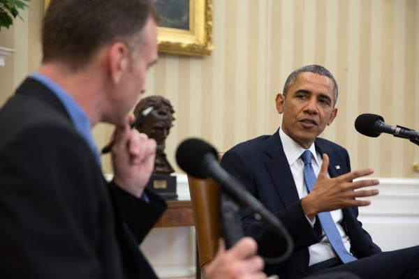 President Obama is interviewed Monday in the Oval Office by Steve Inskeep for NPR's <em>Morning Edition</em>.