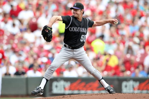 """Jamie Moyer, shown above pitching for the Colorado Rockies in May 2012, made his major league debut back in 1986. He says that after decades in the major leagues, he'd occasionally have to remind himself that """"in baseball terms, I really was old, but in everyday life, I really wasn't."""""""