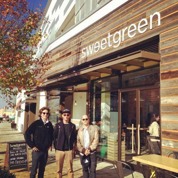 Sweetgreen co-founders Nathaniel Ru (from left), Jonathan Neman and Nicolas Jammet at the opening of a Virginia location last year.