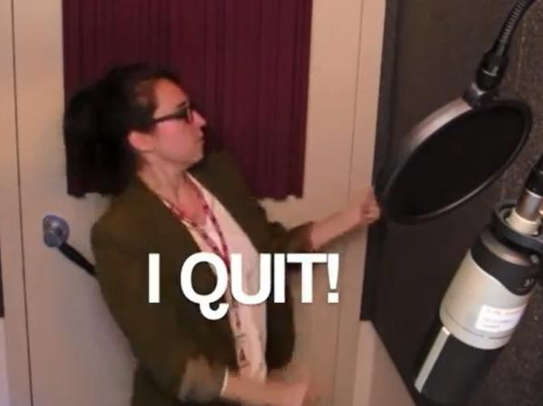 "The way to go? Marina Shifrin in her viral ""I Quit!"" video."