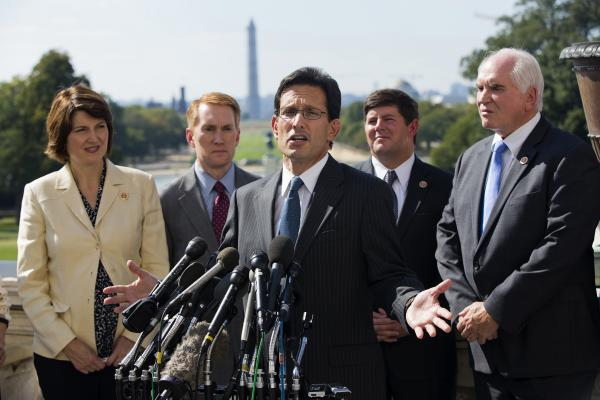 House Majority Leader Eric Cantor, R-Va., addresses the media about the ongoing budget battle on Capitol Hill. He was joined by Republican Reps. Cathy McMorris Rodgers of Washington, James Lankford of Oklahoma, Steven Palazzo of Mississippi, and Mike Kelly of Pennsylvania.