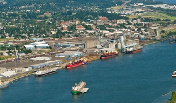 An aerial view of the Port of Vancouver in Washington.