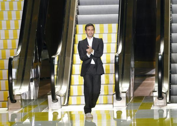 Fashion designer Marc Jacobs, at the end of his Louis Vuitton ready to wear Spring-Summer 2013 collection, presented in Paris, Wednesday, Oct. 3, 2012. (Jacques Brinon/AP)