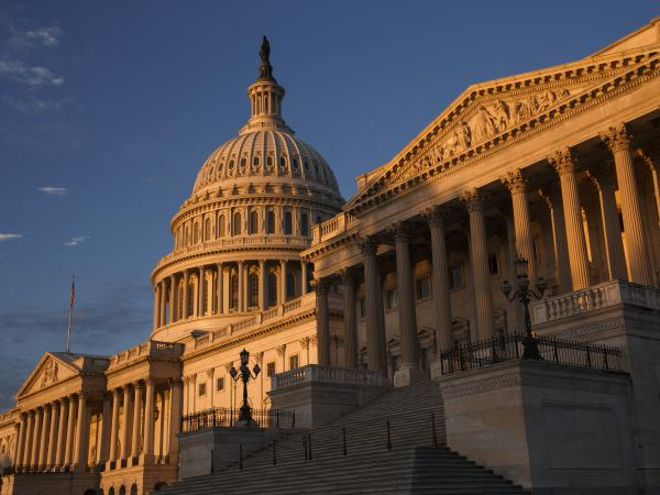 The morning sun illuminates the U.S. Capitol on Monday.