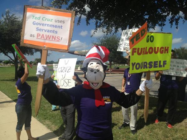 Furloughed Employees Deliver Furlough Notice To Ted Cruz