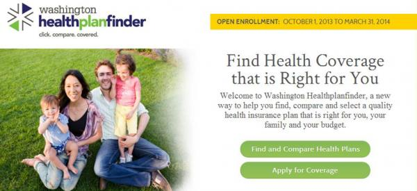 Screenshot from the home page of the Washington Health Plan Finder.