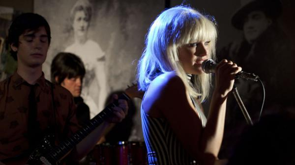 Malin Akerman, who plays Blondie singer Debbie Harry, is just one of many actors and musicians lip-syncing to the tracks of '70s punk legends in the loose but lively <em>CBGB.</em>