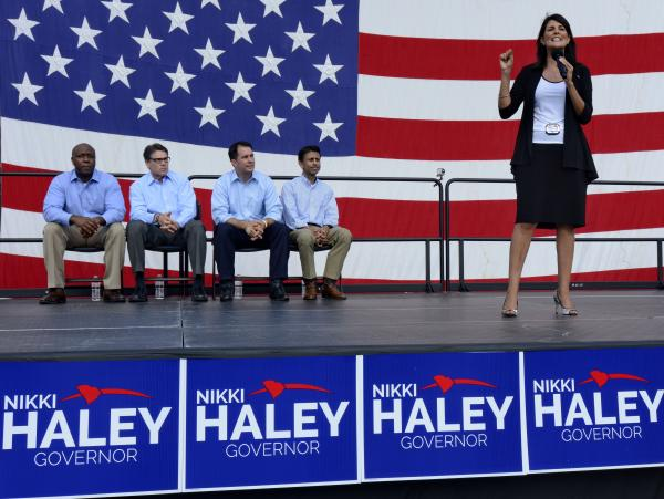 Republican South Carolina Gov. Nikki Haley announces her candidacy for a second term in August, with South Carolina Sen. Tim Scott (from left), Govs. Rick Perry of Texas, Scott Walker of Wisconsin, and Bobby Jindal of Louisiana.