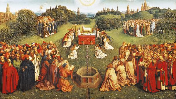 Detail of the central compartment of <em>The Adoration of the Mystic Lamb</em>, completed in 1432 by Jan van Eyck, where pilgrims gather to pay homage to the lamb of God. Many art historians interpret the painting's fountain as a symbol of eternal life.