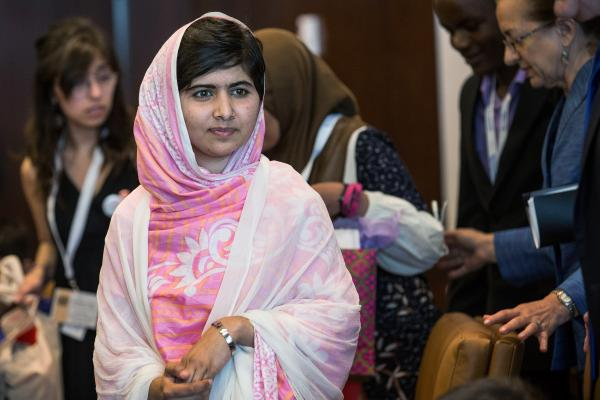 Malala Yousafzai, the 16-year-old Pakistani advocate for girls education who was shot in the head by the Taliban, attends a conversation with the United Nations Secretary General Ban-ki Moon and other youth delegates.