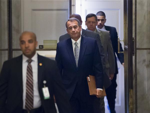 House Speaker John Boehner of Ohio arrives on Capitol Hill on Monday.