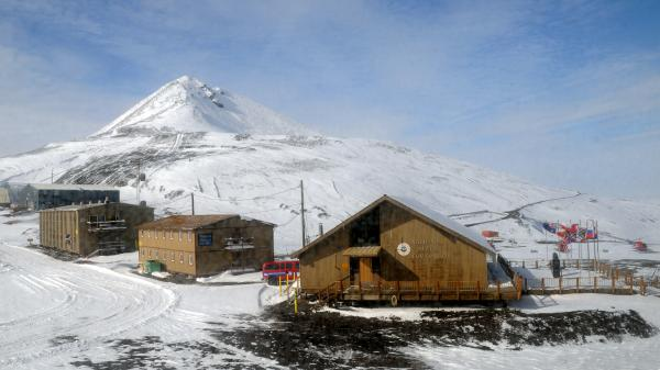 The Chalet (right) is the U.S. Antarctic Program's administrations and operations center at McMurdo Station.