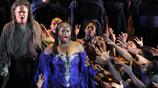 In his operas, Giuseppe Verdi had a knack for empowering  marginalized people — like the title character of <em>Aida,</em> who is an enslaved Ethiopian princess (played in this 2011 French production by American soprano Indra Thomas).