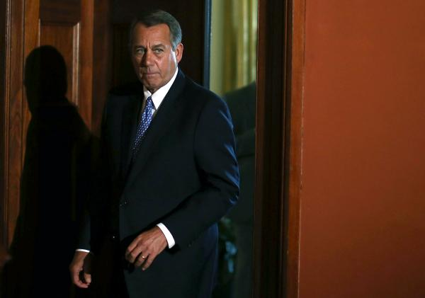 House Speaker John Boehner (R-OH) arrives to speak to the media following President Barack Obama's news conference at the U.S. Capitol on Tuesday.