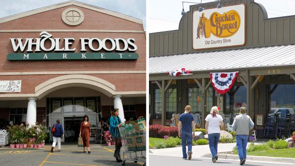A composite image of a Whole Foods in Providence, R.I., and a Cracker Barrel in Springville, Utah.