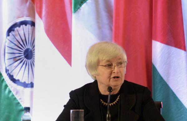 Federal Reserve Vice Chair Janet Yellen speaks at an international monetary conference in Shanghai on June 3, 2013.