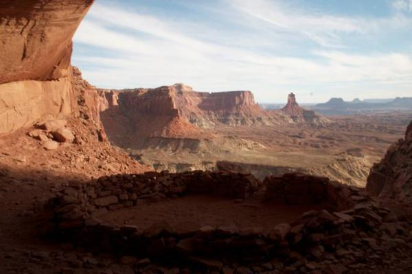 False Kiva in the Island in the Sky section of Canyonlands National Park is off-limits to hikers during the government shutdown but officials in San Juan County, Utah, say they plan to reopen the park themselves and allow visitors to enter.