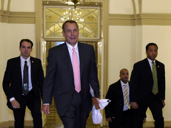 House Speaker John Boehner of Ohio arrives on Capitol Hill on Thursday.
