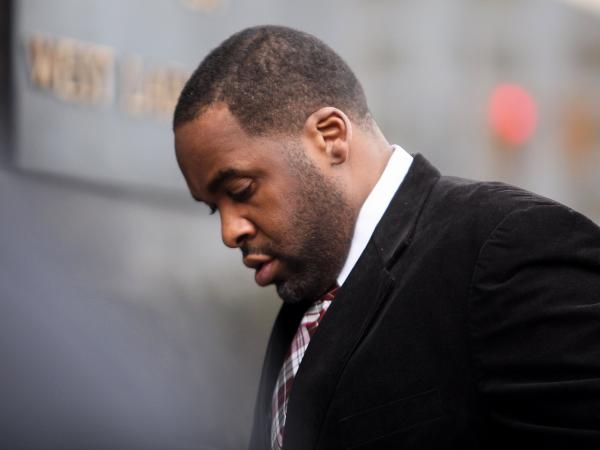 Former Detroit Mayor Kwame Kilpatrick on his way into court in March in Detroit.