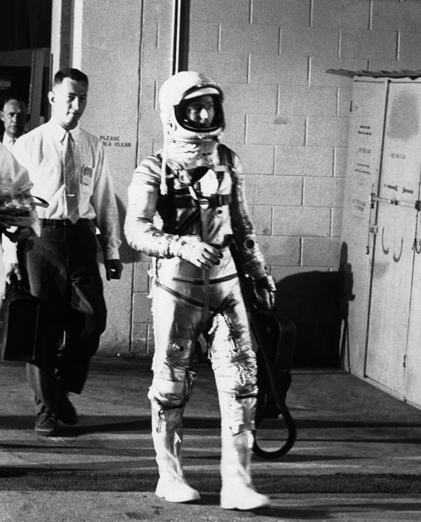 Carpenter leaves a hangar at Cape Canaveral on May 24, 1962, en route to the launching pad.