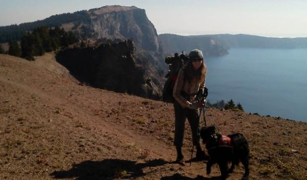Marijke Weaver hikes past Crater Lake National Park. National parks are now closed because of the government shutdown, forcing thru-hikers to find an alternate route.